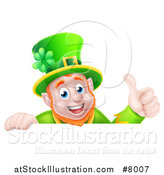 Vector Illustration of a Happy Leprechaun Giving a Thumb up over a Sign by AtStockIllustration