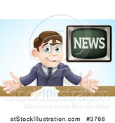 Vector Illustration of a Happy Male Anchor Presenting the News by AtStockIllustration