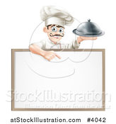 Vector Illustration of a Happy Male Chef Holding a Platter and Pointing down at a White Board by AtStockIllustration