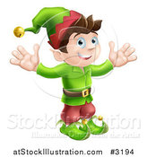 Vector Illustration of a Happy Male Christmas Elf with Open Arms by AtStockIllustration