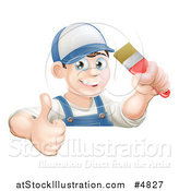 Vector Illustration of a Happy Male Painter Holding a Thumb up and a Brush over a Sign by AtStockIllustration