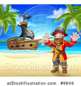Vector Illustration of a Happy Male Pirate Captain Holding a Treasure Map and Waving on a Tropical Beach, with a Ship in the Background by AtStockIllustration