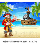 Vector Illustration of a Happy Male Pirate Captain Holding a Treasure Map on a Tropical Beach, with a Ship in the Background by AtStockIllustration