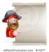 Vector Illustration of a Happy Male Pirate Captain Pointing Around a Blank Scroll Sign by AtStockIllustration
