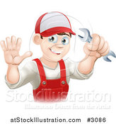 Vector Illustration of a Happy Male Plumber Waving and Holding a Wrench by AtStockIllustration
