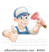Vector Illustration of a Happy Male Plumber Wearing a Hat, Holding a Thumb up and Plunger by AtStockIllustration