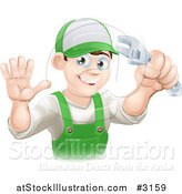 Vector Illustration of a Happy Male Worker Waving and Holding a Wrench by AtStockIllustration