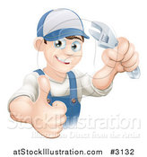 Vector Illustration of a Happy Mechanic Plumber or Handy Man Holding a Thumb up and a Wrench by AtStockIllustration