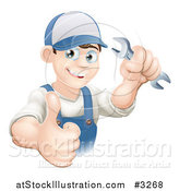 Vector Illustration of a Happy Mechanic Plumber or Handy Man Worker Holding a Thumb up and a Wrench by AtStockIllustration