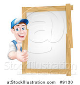 Vector Illustration of a Happy Middle Aged Brunette Caucasian Handy Man in Blue, Wearing a Baseball Cap, Giving a Thumb up Around a Wood Framed Sign by AtStockIllustration