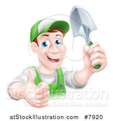 Vector Illustration of a Happy Middle Aged Brunette Caucasian Male Gardener in Green, Giving a Thumb up and Holding a Shovel by AtStockIllustration
