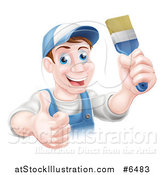 Vector Illustration of a Happy Middle Aged Brunette Caucasian Male House Painter Holding a Brush and a Thumb up by AtStockIllustration