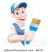 Vector Illustration of a Happy Middle Aged Brunette Caucasian Male House Painter Holding a Brush Around a Sign by AtStockIllustration