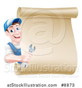 Vector Illustration of a Happy Middle Aged Brunette Caucasian Mechanic Man in Blue, Holding a Wrench and Looking Around a Blank Scroll Sign by AtStockIllustration