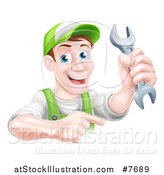 Vector Illustration of a Happy Middle Aged Brunette Caucasian Mechanic Man in Green, Wearing a Baseball Cap, Holding a Wrench and Pointing by AtStockIllustration