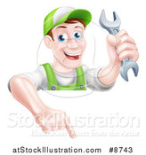 Vector Illustration of a Happy Middle Aged Brunette Caucasian Mechanic Man in Green, Wearing a Baseball Cap, Holding a Wrench and Pointing down over a Sign by AtStockIllustration