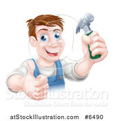 Vector Illustration of a Happy Middle Aged Brunette Caucasian Worker Man Holding a Hammer and Thumb up by AtStockIllustration