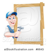Vector Illustration of a Happy Middle Aged Brunette Caucasian Worker Man Holding a Hammer Around a Sign by AtStockIllustration