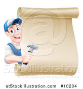 Vector Illustration of a Happy Middle Aged Brunette Caucasian Worker Man Wearing a Baseball Cap, Holding a Hammer and Looking Around a Scroll Sign by AtStockIllustration