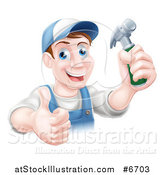 Vector Illustration of a Happy Middle Aged Brunette Caucasian Worker Man Wearing a Baseball Cap, Holding a Hammer and Thumb up by AtStockIllustration