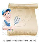 Vector Illustration of a Happy Middle Aged Brunette White Male Gardener in Blue, Holding a Garden Fork Around a Scroll Sign by AtStockIllustration
