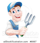 Vector Illustration of a Happy Middle Aged Brunette White Male Gardener in Blue, Holding a Garden Fork Around a Sign by AtStockIllustration