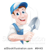 Vector Illustration of a Happy Middle Aged Brunette White Male Gardener in Blue, Holding a Shovel Around a Sign by AtStockIllustration