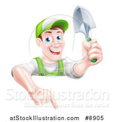 Vector Illustration of a Happy Middle Aged Brunette White Male Gardener in Green, Pointing down over a Sign and Holding a Shovel by AtStockIllustration