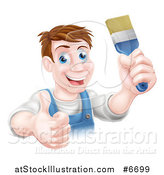 Vector Illustration of a Happy Middle Aged Brunette White Male House Painter Holding a Brush and a Thumb up by AtStockIllustration