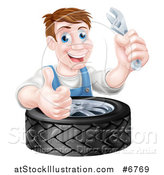 Vector Illustration of a Happy Middle Aged Brunette White Mechanic Man Holding a Wrench and Giving a Thumb up over a Tire by AtStockIllustration