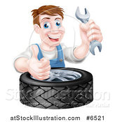 Vector Illustration of a Happy Middle Aged Brunette White Mechanic Man Holding a Wrench and Thumb up over a Tire by AtStockIllustration