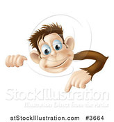 Vector Illustration of a Happy Monkey Looking over and Pointing down at a Sign by AtStockIllustration
