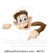 Vector Illustration of a Happy Monkey Pointing down at a Sign by AtStockIllustration