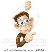 Vector Illustration of a Happy Monkey Pointing to a Sign by AtStockIllustration