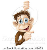 Vector Illustration of a Happy Monkey Smiling and Pointing to a Sign by AtStockIllustration