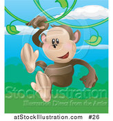 Vector Illustration of a Happy Monkey Swinging on Vines in a Rainforest by AtStockIllustration