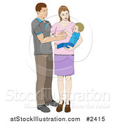 Vector Illustration of a Happy Mother and Father Adoring Their Baby Boy by AtStockIllustration