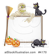 Vector Illustration of a Happy Mummy and a Black Cat over a Halloween Sign with a Broomstick and Pumpkins by AtStockIllustration
