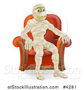 Vector Illustration of a Happy Mummy Siting in an Arm Chair by AtStockIllustration