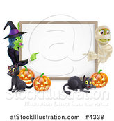 Vector Illustration of a Happy Mummy Witch Pumpkins and Black Cats Around a Blank Sign by AtStockIllustration