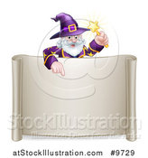 Vector Illustration of a Happy Old Bearded Wizard Holding a Magic Wand and Pointing down over a Blank Scroll Sign by AtStockIllustration