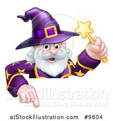 Vector Illustration of a Happy Old Bearded Wizard Holding a Magic Wand and Pointing down over a Sign by AtStockIllustration