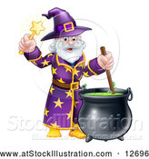 Vector Illustration of a Happy Old Bearded Wizard Mixing a Potion and Holding a Wand by AtStockIllustration