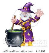 Vector Illustration of a Happy Old Bearded Wizard Mixing a Potion and Waving by AtStockIllustration