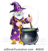 Vector Illustration of a Happy Old Bearded Wizard Mixing a Potion by AtStockIllustration