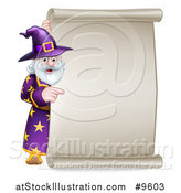 Vector Illustration of a Happy Old Bearded Wizard Pointing Around a Scroll Sign by AtStockIllustration