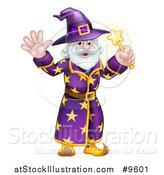 Vector Illustration of a Happy Old Bearded Wizard Waving and Holding up a Magic Wand by AtStockIllustration