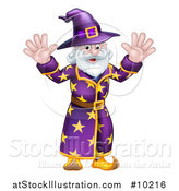 Vector Illustration of a Happy Old Bearded Wizard Waving with Both Hands by AtStockIllustration