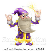 Vector Illustration of a Happy Old Wizard Gesturing Ok and Holding up a Magic Wand by AtStockIllustration