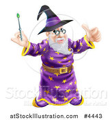 Vector Illustration of a Happy Old Wizard Holding a Thumb up and Magic Wand by AtStockIllustration